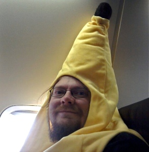 Guy dressed like a banana, 40,000 feet