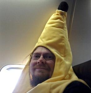 Guy dressed like a banana, 40,000 feet